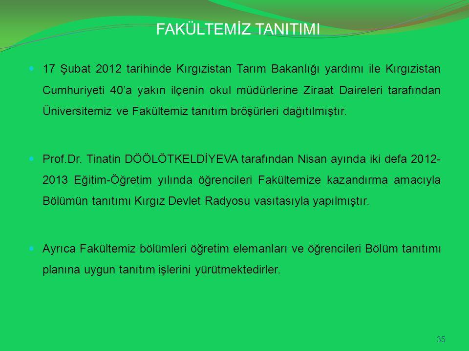 FAKÜLTEMİZ TANITIMI 17 Şubat 2012 tarihinde Kırgızistan Tarım Bakanlığı yardımı ile Kırgızistan Cumhuriyeti 40'a yakın ilçenin okul müdürlerine Ziraat Daireleri tarafından Üniversitemiz ve Fakültemiz tanıtım bröşürleri dağıtılmıştır.