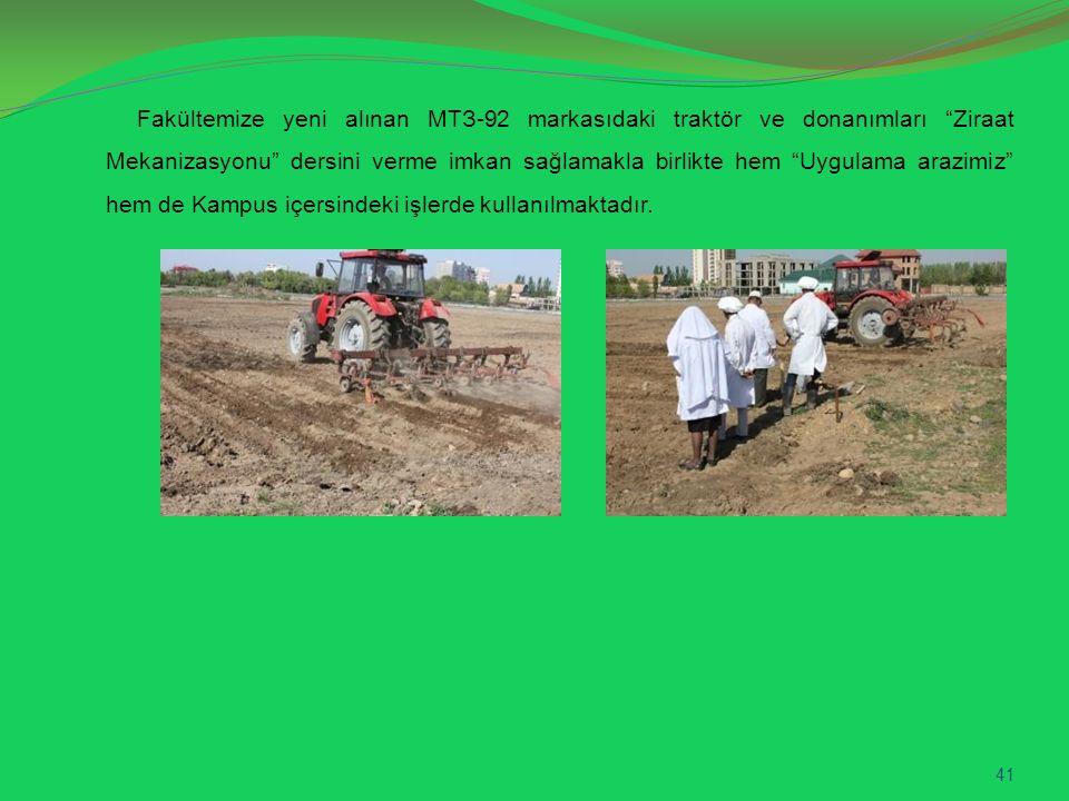 """Fakültemize yeni alınan МТЗ-92 markasıdaki traktör ve donanımları """"Ziraat Mekanizasyonu"""" dersini verme imkan sağlamakla birlikte hem """"Uygulama arazimi"""