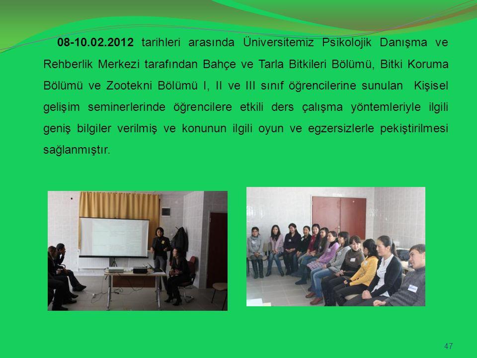 08-10.02.2012 tarihleri arasında Üniversitemiz Psikolojik Danışma ve Rehberlik Merkezi tarafından Bahçe ve Tarla Bitkileri Bölümü, Bitki Koruma Bölümü