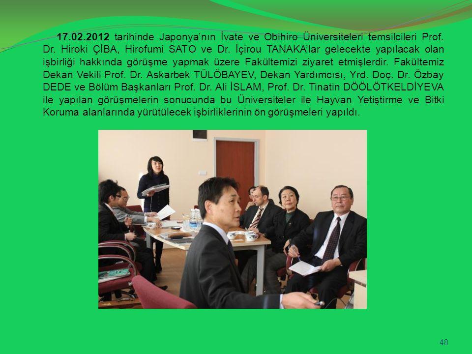 17.02.2012 tarihinde Japonya'nın İvate ve Obihiro Üniversiteleri temsilcileri Prof. Dr. Hiroki ÇİBA, Hirofumi SATO ve Dr. İçirou TANAKA'lar gelecekte