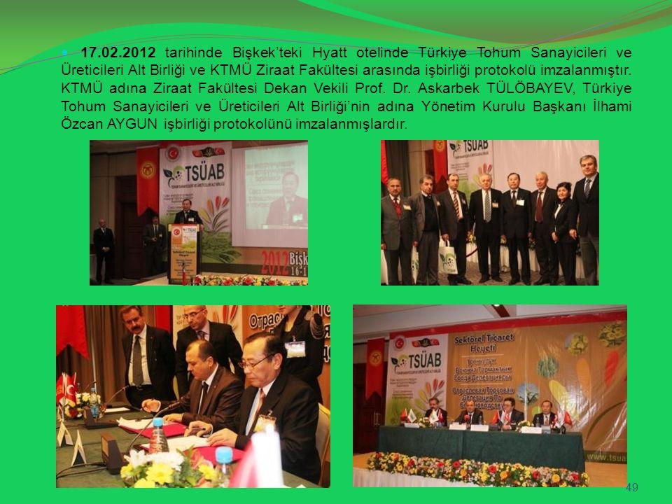 17.02.2012 tarihinde Bişkek'teki Hyatt otelinde Türkiye Tohum Sanayicileri ve Üreticileri Alt Birliği ve KTMÜ Ziraat Fakültesi arasında işbirliği prot
