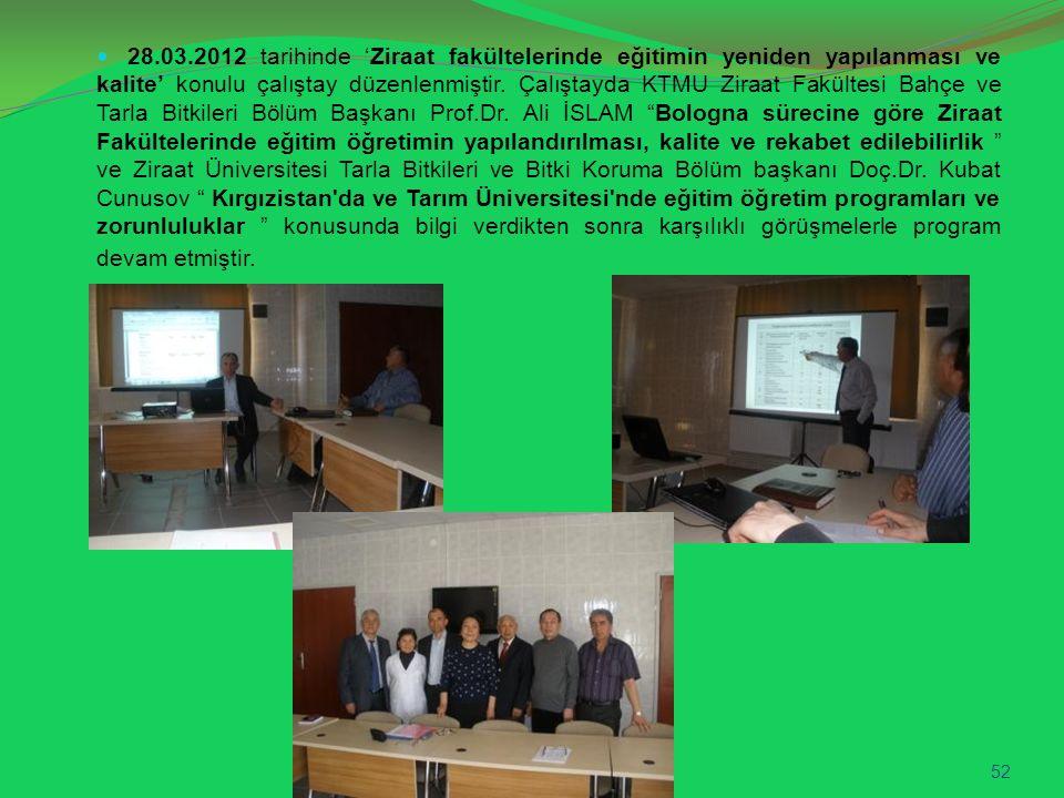 28.03.2012 tarihinde 'Ziraat fakültelerinde eğitimin yeniden yapılanması ve kalite' konulu çalıştay düzenlenmiştir. Çalıştayda KTMU Ziraat Fakültesi B