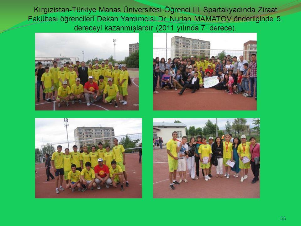 Kırgızistan-Türkiye Manas Üniversitesi Öğrenci III. Spartakyadında Ziraat Fakültesi öğrencileri Dekan Yardımcısı Dr. Nurlan MAMATOV önderliğinde 5. de