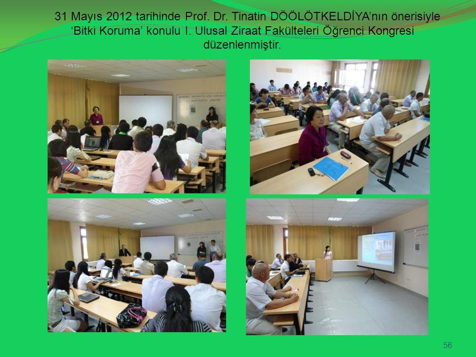 31 Mayıs 2012 tarihinde Prof. Dr. Tinatin DÖÖLÖTKELDİYA'nın önerisiyle 'Bitki Koruma' konulu I. Ulusal Ziraat Fakülteleri Öğrenci Kongresi düzenlenmiş