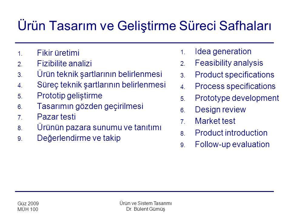 Ürün ve Sistem Tasarımı Dr. Bülent Gümüş Güz 2009 MÜH 100 Ürün Tasarım ve Geliştirme Süreci Safhaları 1. Fikir üretimi 2. Fizibilite analizi 3. Ürün t