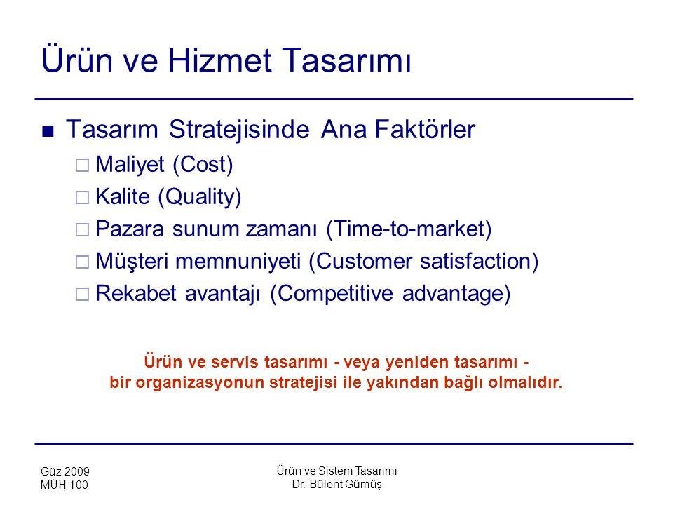 Ürün ve Sistem Tasarımı Dr. Bülent Gümüş Güz 2009 MÜH 100 Ürün ve Hizmet Tasarımı Tasarım Stratejisinde Ana Faktörler  Maliyet (Cost)  Kalite (Quali