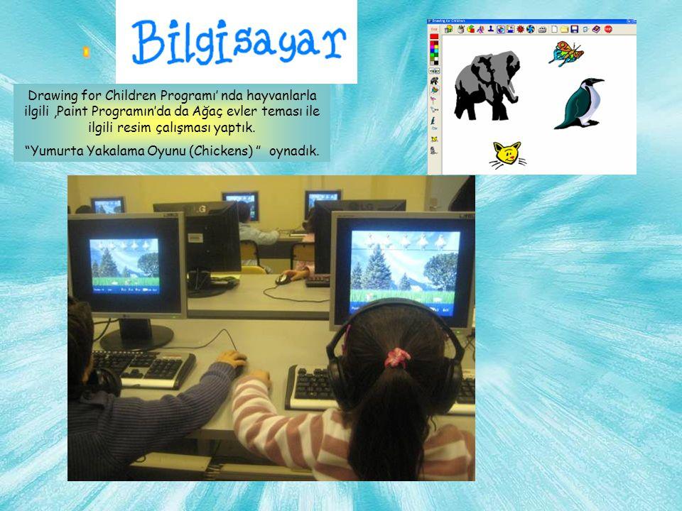 Drawing for Children Programı' nda hayvanlarla ilgili,Paint Programın'da da Ağaç evler teması ile ilgili resim çalışması yaptık.