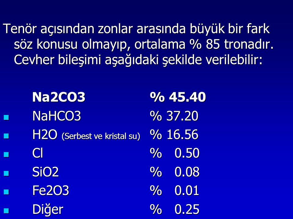 Tenör açısından zonlar arasında büyük bir fark söz konusu olmayıp, ortalama % 85 tronadır. Cevher bileşimi aşağıdaki şekilde verilebilir: Na2CO3% 45.4