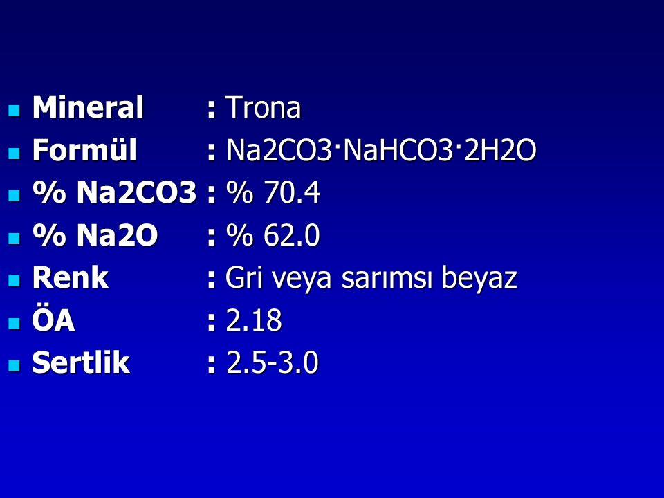 Mineral: Trona Mineral: Trona Formül : Na2CO3·NaHCO3·2H2O Formül : Na2CO3·NaHCO3·2H2O % Na2CO3: % 70.4 % Na2CO3: % 70.4 % Na2O: % 62.0 % Na2O: % 62.0