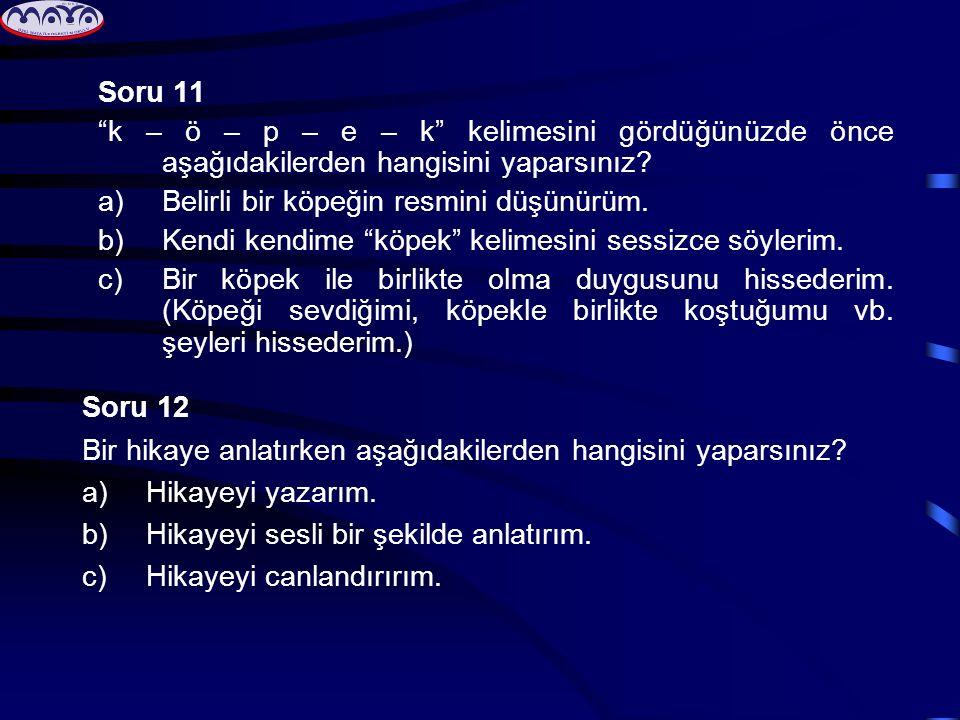 """Soru 11 """"k – ö – p – e – k"""" kelimesini gördüğünüzde önce aşağıdakilerden hangisini yaparsınız? a)Belirli bir köpeğin resmini düşünürüm. b)Kendi kendim"""