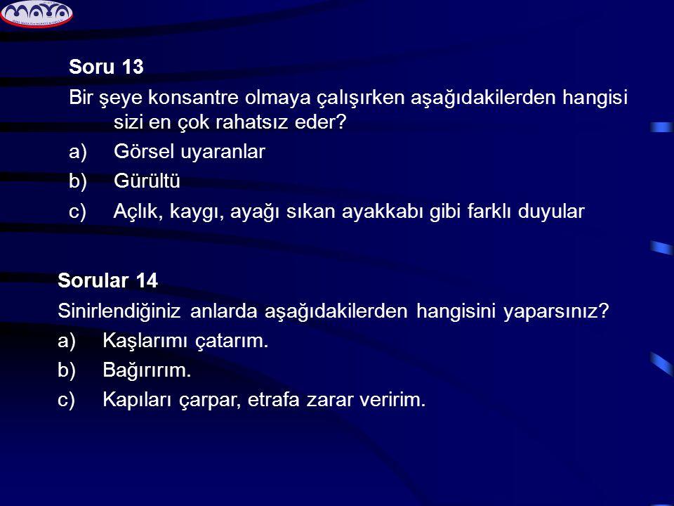 Soru 13 Bir şeye konsantre olmaya çalışırken aşağıdakilerden hangisi sizi en çok rahatsız eder? a)Görsel uyaranlar b)Gürültü c)Açlık, kaygı, ayağı sık