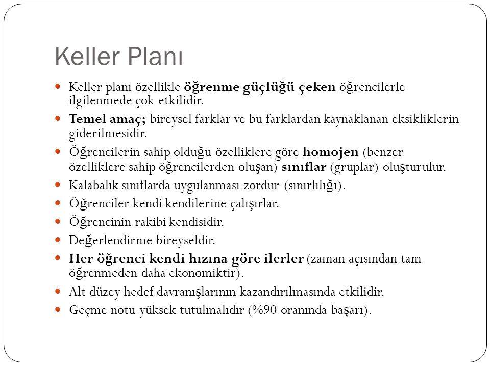 Keller Planı Keller planı özellikle ö ğ renme güçlü ğ ü çeken ö ğ rencilerle ilgilenmede çok etkilidir. Temel amaç; bireysel farklar ve bu farklardan