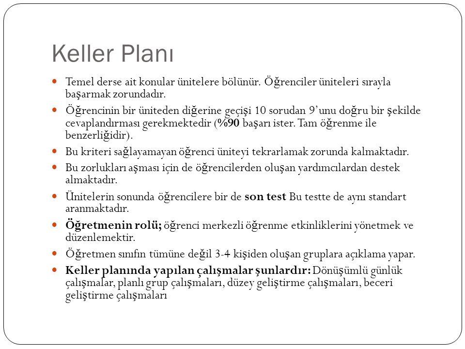 Keller Planı Temel derse ait konular ünitelere bölünür. Ö ğ renciler üniteleri sırayla ba ş armak zorundadır. Ö ğ rencinin bir üniteden di ğ erine geç