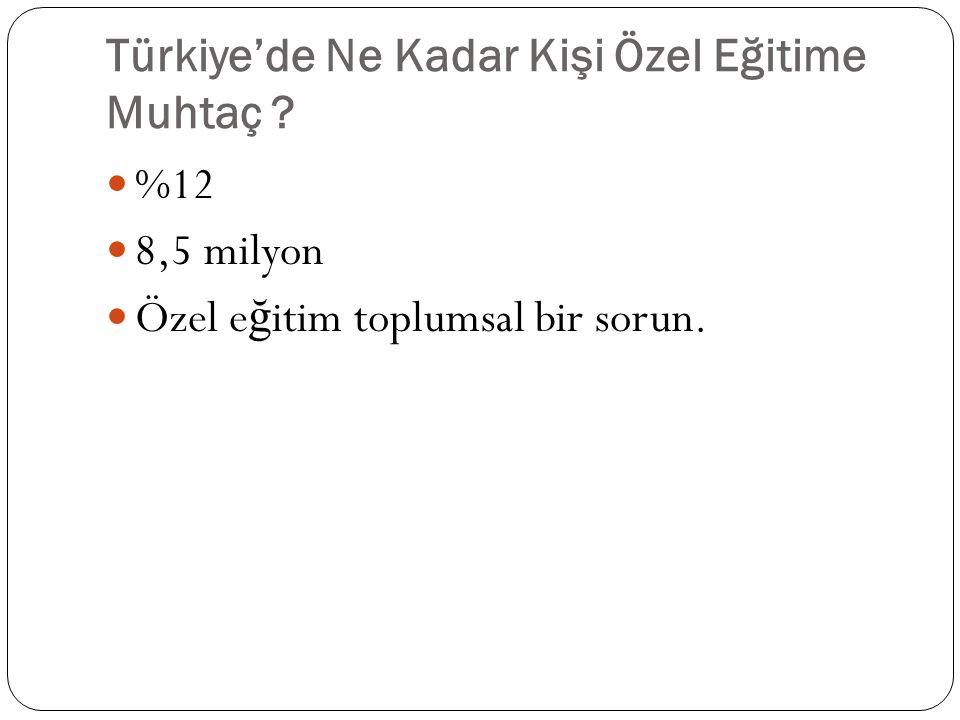 Türkiye'de Ne Kadar Kişi Özel Eğitime Muhtaç ? %12 8,5 milyon Özel e ğ itim toplumsal bir sorun.