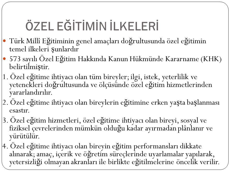 ÖZEL EĞİTİMİN İLKELERİ Türk Millî E ğ itiminin genel amaçları do ğ rultusunda özel e ğ itimin temel ilkeleri ş unlardır 573 sayılı Özel E ğ itim Hakkı