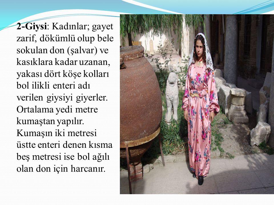2-Giysi: Kadınlar; gayet zarif, dökümlü olup bele sokulan don (şalvar) ve kasıklara kadar uzanan, yakası dört köşe kolları bol ilikli enteri adı verilen giysiyi giyerler.