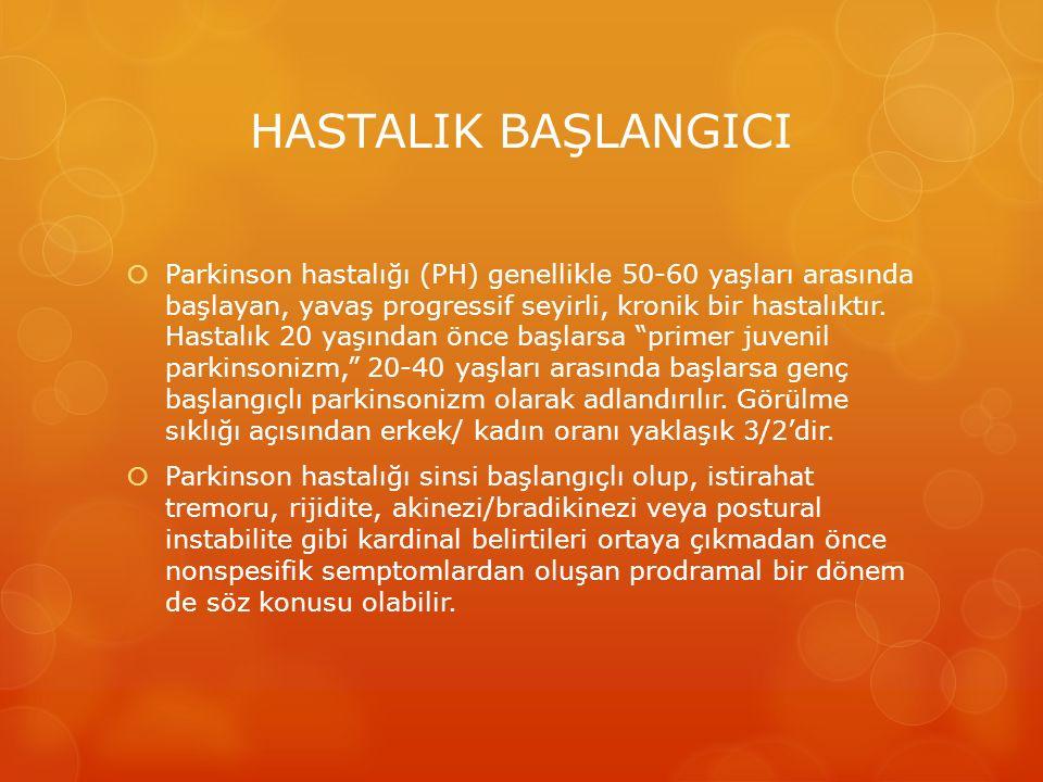 HASTALIK BAŞLANGICI  Parkinson hastalığı (PH) genellikle 50-60 yaşları arasında başlayan, yavaş progressif seyirli, kronik bir hastalıktır. Hastalık
