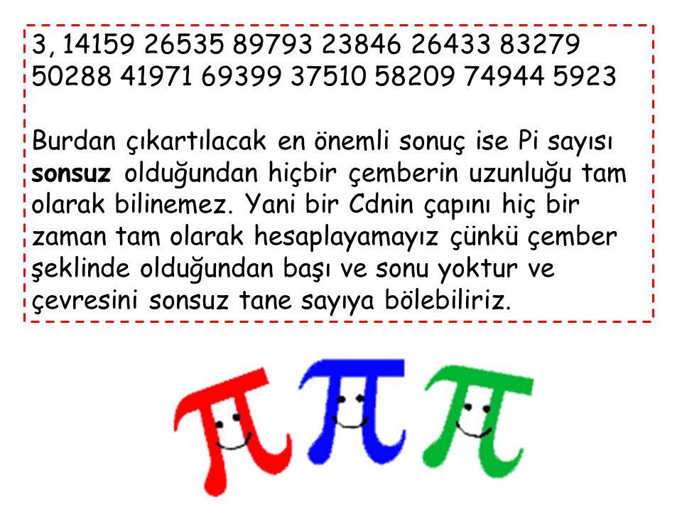Bir dairenin çevresinin çapına bölümü ile elde edilen sayıdır. Bu oran her daire için aynı değeri alır ve bu yüzden matematik sabiti kabul edilir. Pi