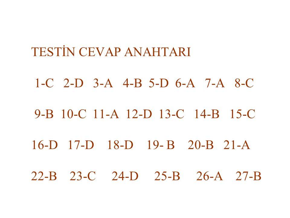 TESTİN CEVAP ANAHTARI 1-C 2-D 3-A 4-B 5-D 6-A 7-A 8-C 9-B 10-C 11-A 12-D 13-C 14-B 15-C 16-D 17-D 18-D 19- B 20-B 21-A 22-B 23-C 24-D 25-B 26-A 27-B