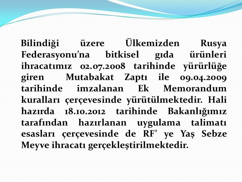 Bilindiği üzere Ülkemizden Rusya Federasyonu'na bitkisel gıda ürünleri ihracatımız 02.07.2008 tarihinde yürürlüğe giren Mutabakat Zaptı ile 09.04.2009