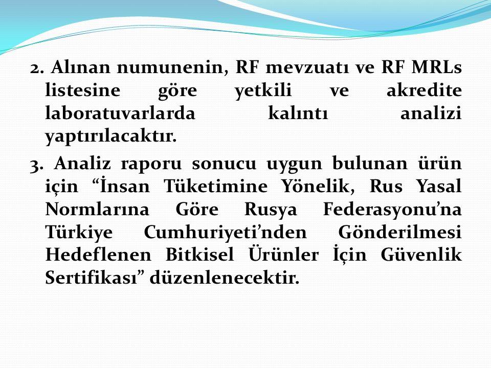 2. Alınan numunenin, RF mevzuatı ve RF MRLs listesine göre yetkili ve akredite laboratuvarlarda kalıntı analizi yaptırılacaktır. 3. Analiz raporu sonu