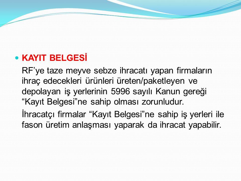 KAYIT BELGESİ RF'ye taze meyve sebze ihracatı yapan firmaların ihraç edecekleri ürünleri üreten/paketleyen ve depolayan iş yerlerinin 5996 sayılı Kanu