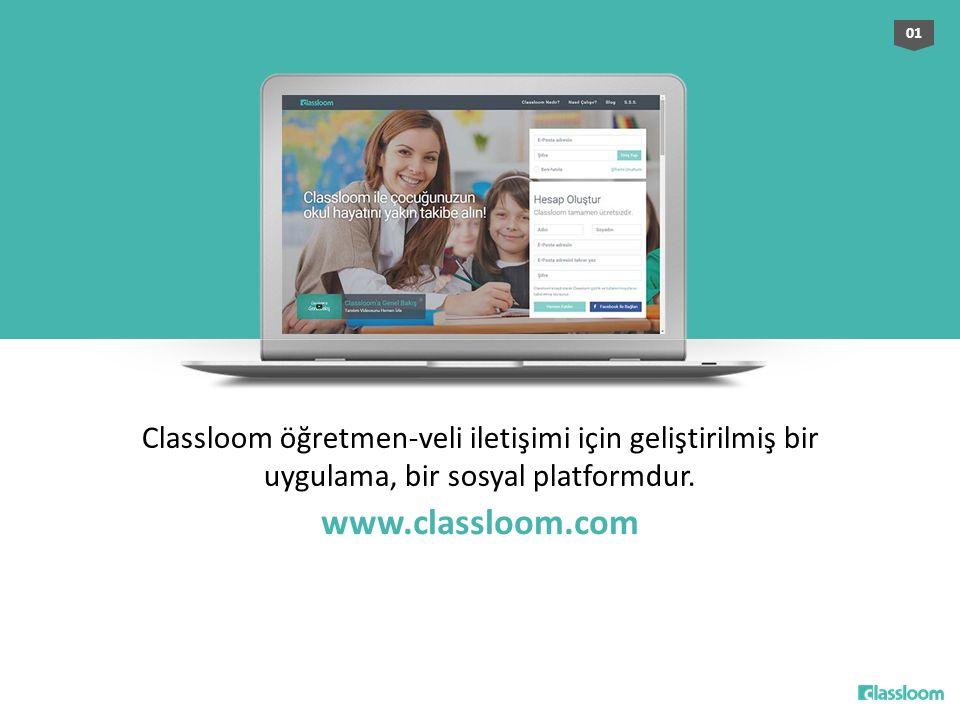 Classloom öğretmen-veli iletişimi için geliştirilmiş bir uygulama, bir sosyal platformdur. 01 www.classloom.com