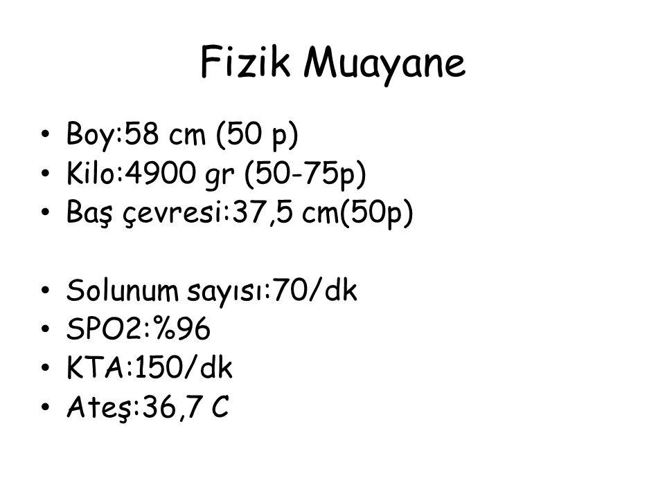 Fizik Muayane Boy:58 cm (50 p) Kilo:4900 gr (50-75p) Baş çevresi:37,5 cm(50p) Solunum sayısı:70/dk SPO2:%96 KTA:150/dk Ateş:36,7 C