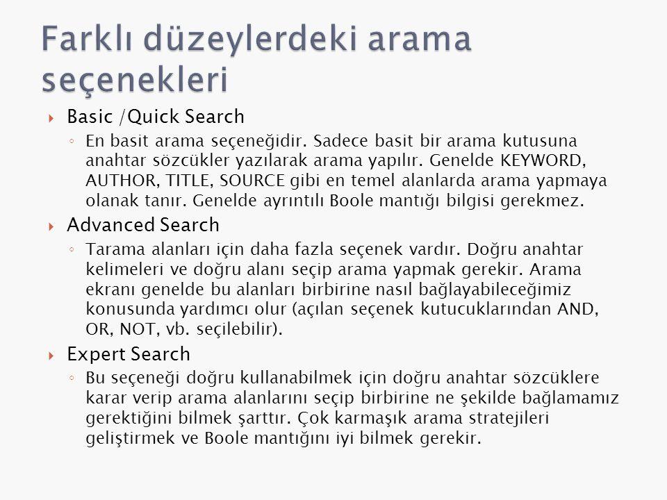  Basic /Quick Search ◦ En basit arama seçeneğidir.