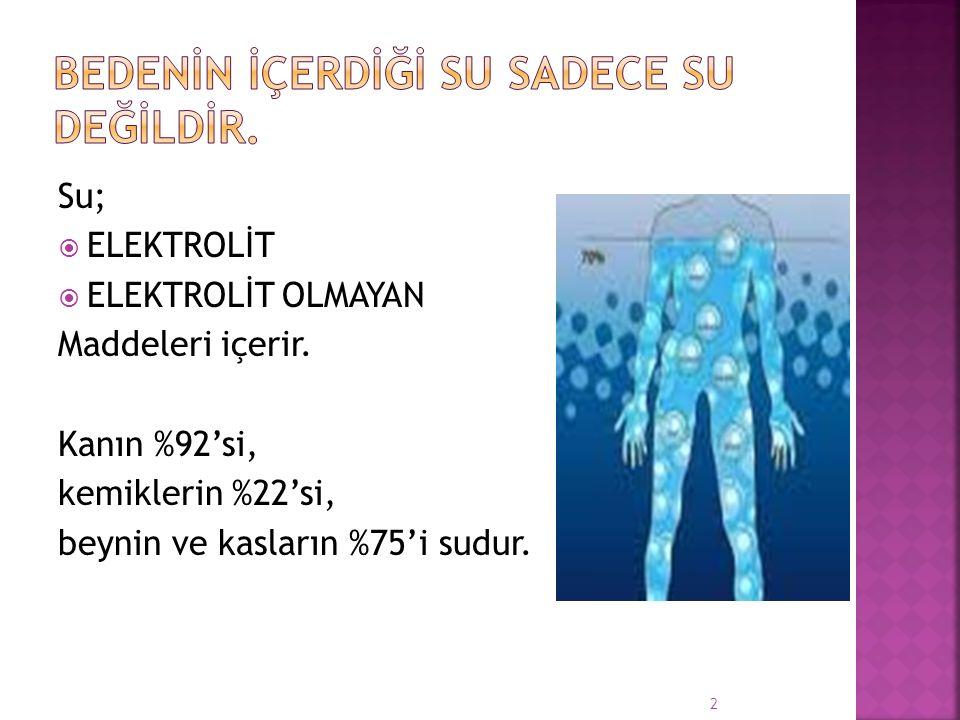 Su;  ELEKTROLİT  ELEKTROLİT OLMAYAN Maddeleri içerir. Kanın %92'si, kemiklerin %22'si, beynin ve kasların %75'i sudur. 2