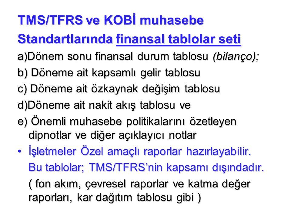 TMS/TFRS ve KOBİ muhasebe Standartlarında finansal tablolar seti a)Dönem sonu finansal durum tablosu (bilanço); b) Döneme ait kapsamlı gelir tablosu c