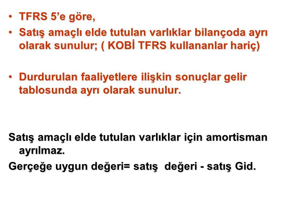 TFRS 5'e göre,TFRS 5'e göre, Satış amaçlı elde tutulan varlıklar bilançoda ayrı olarak sunulur; ( KOBİ TFRS kullananlar hariç)Satış amaçlı elde tutula
