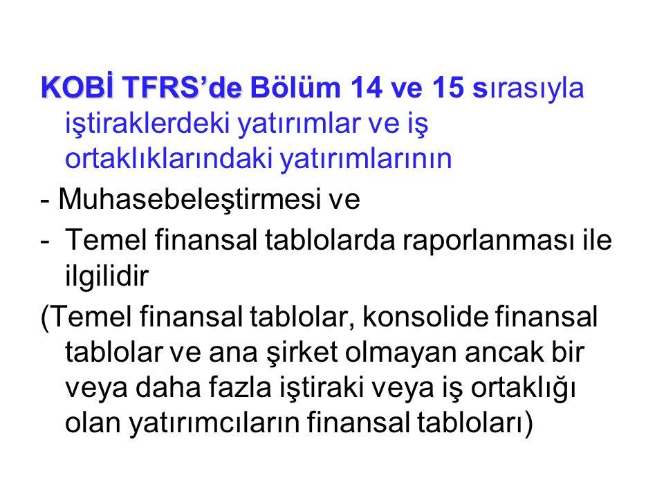 KOBİ TFRS'de KOBİ TFRS'de Bölüm 14 ve 15 sırasıyla iştiraklerdeki yatırımlar ve iş ortaklıklarındaki yatırımlarının - Muhasebeleştirmesi ve -Temel fin