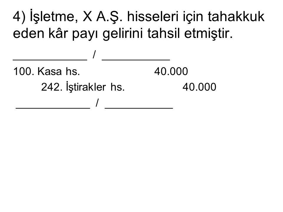 4) İşletme, X A.Ş. hisseleri için tahakkuk eden kâr payı gelirini tahsil etmiştir. ____________ / ___________ 100. Kasa hs.40.000 242. İştirakler hs.4