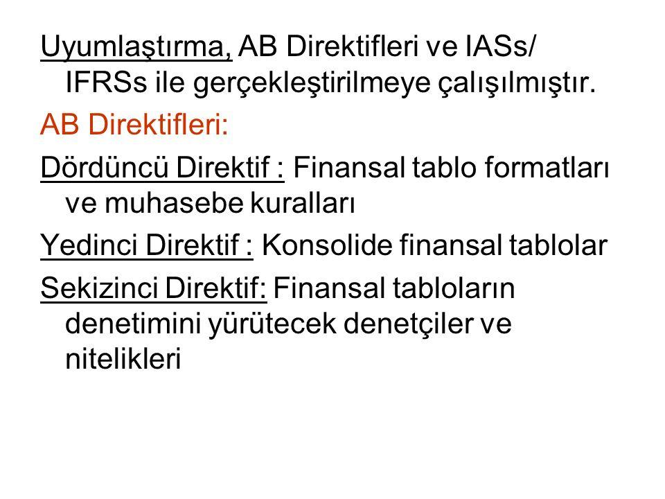 Uyumlaştırma, AB Direktifleri ve IASs/ IFRSs ile gerçekleştirilmeye çalışılmıştır. AB Direktifleri: Dördüncü Direktif : Finansal tablo formatları ve m
