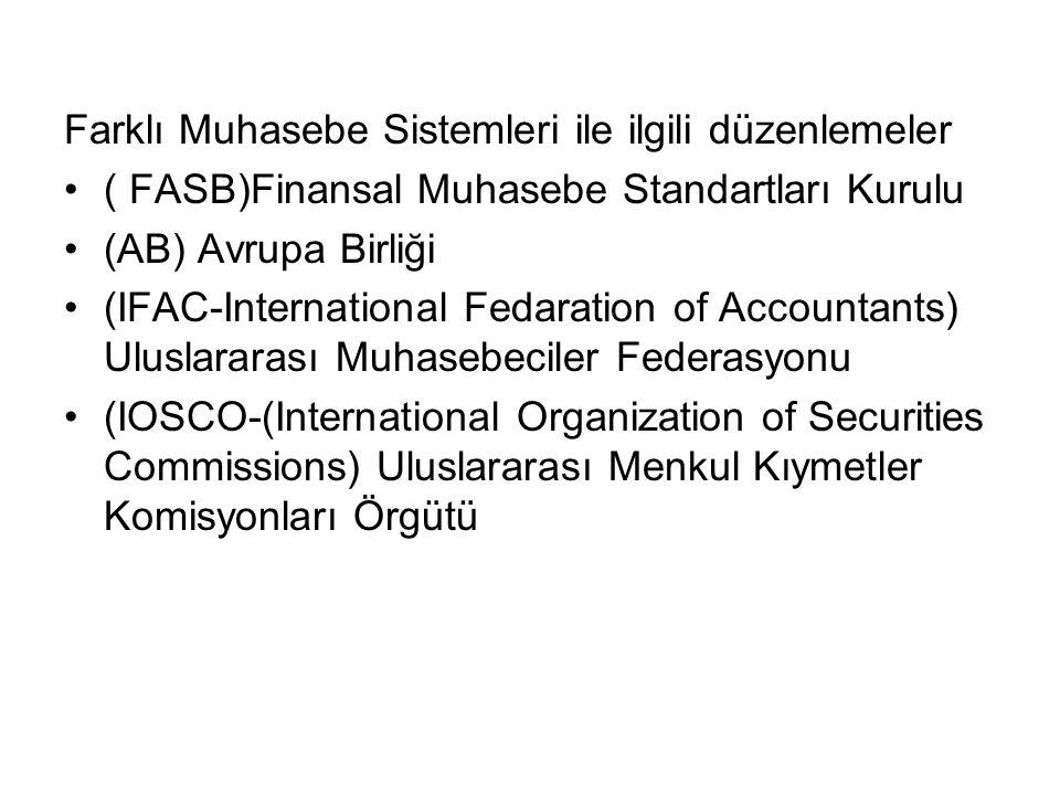 Farklı Muhasebe Sistemleri ile ilgili düzenlemeler ( FASB)Finansal Muhasebe Standartları Kurulu (AB) Avrupa Birliği (IFAC-International Fedaration of