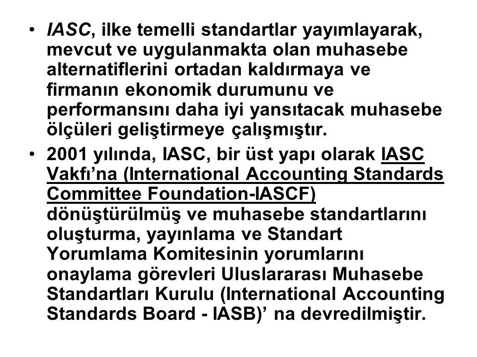 IASC, ilke temelli standartlar yayımlayarak, mevcut ve uygulanmakta olan muhasebe alternatiflerini ortadan kaldırmaya ve firmanın ekonomik durumunu ve
