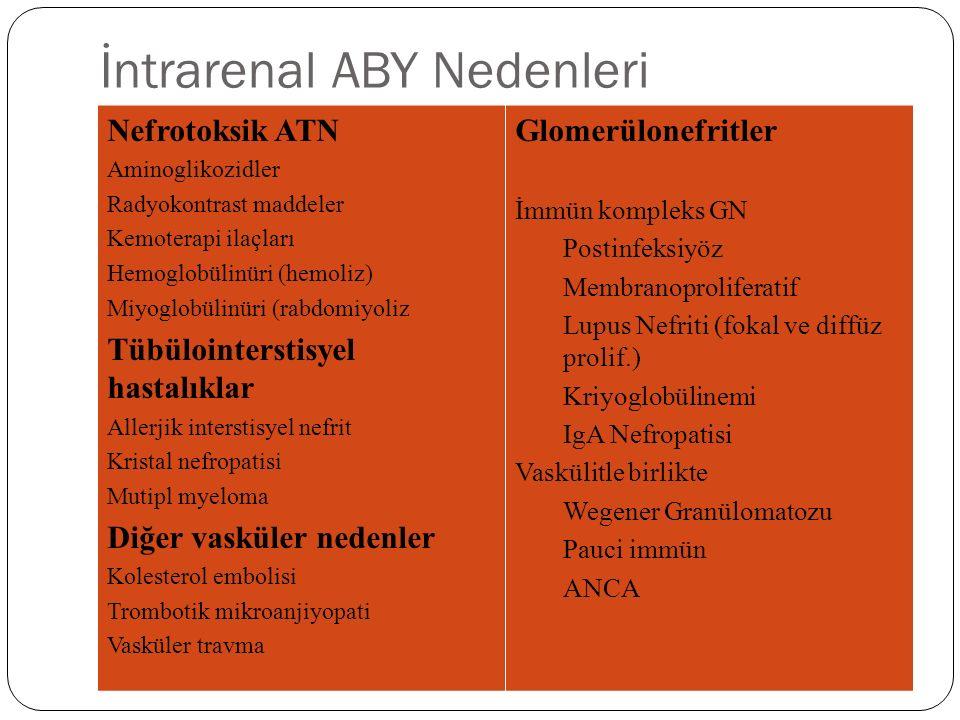 İntrarenal ABY Nedenleri Nefrotoksik ATN Aminoglikozidler Radyokontrast maddeler Kemoterapi ilaçları Hemoglobülinüri (hemoliz) Miyoglobülinüri (rabdomiyoliz Tübülointerstisyel hastalıklar Allerjik interstisyel nefrit Kristal nefropatisi Mutipl myeloma Diğer vasküler nedenler Kolesterol embolisi Trombotik mikroanjiyopati Vasküler travma Glomerülonefritler İmmün kompleks GN Postinfeksiyöz Membranoproliferatif Lupus Nefriti (fokal ve diffüz prolif.) Kriyoglobülinemi IgA Nefropatisi Vaskülitle birlikte Wegener Granülomatozu Pauci immün ANCA