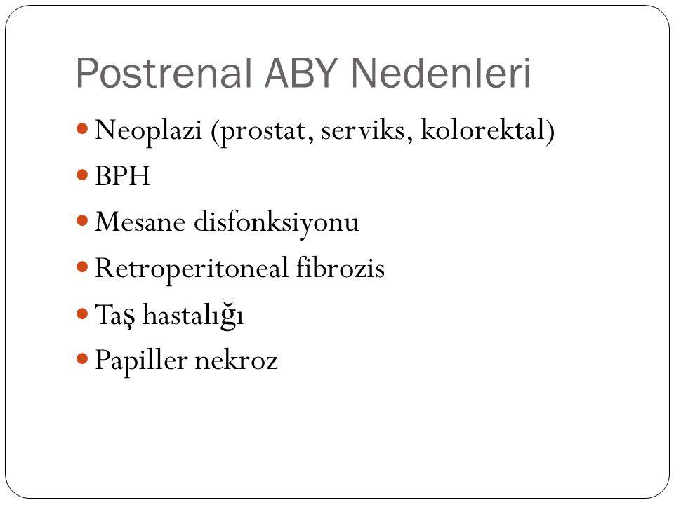 Postrenal ABY Nedenleri Neoplazi (prostat, serviks, kolorektal) BPH Mesane disfonksiyonu Retroperitoneal fibrozis Ta ş hastalı ğ ı Papiller nekroz