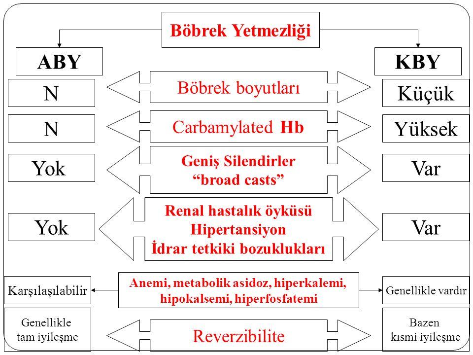 Böbrek boyutları Böbrek Yetmezliği ABYKBY Carbamylated Hb Geniş Silendirler broad casts Reverzibilite Renal hastalık öyküsü Hipertansiyon İdrar tetkiki bozuklukları NKüçük NYüksek YokVar YokVar Karşılaşılabilir Anemi, metabolik asidoz, hiperkalemi, hipokalsemi, hiperfosfatemi Genellikle vardır Bazen kısmi iyileşme Genellikle tam iyileşme