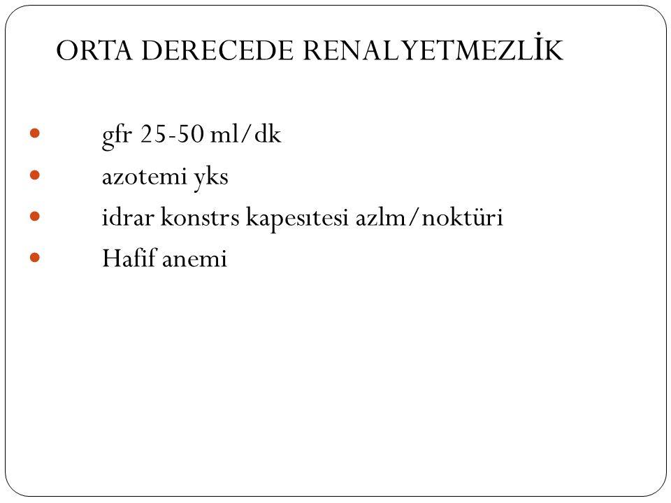 ORTA DERECEDE RENAL YETMEZL İ K gfr 25-50 ml/dk azotemi yks idrar konstrs kapesıtesi azlm/noktüri Hafif anemi