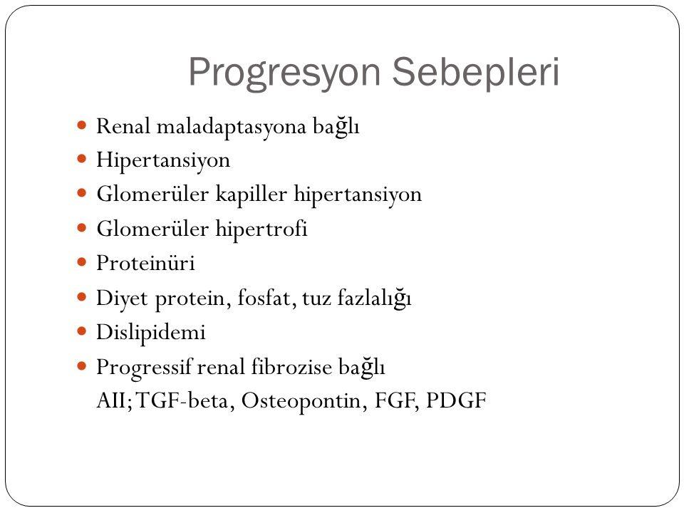 Progresyon Sebepleri Renal maladaptasyona ba ğ lı Hipertansiyon Glomerüler kapiller hipertansiyon Glomerüler hipertrofi Proteinüri Diyet protein, fosfat, tuz fazlalı ğ ı Dislipidemi Progressif renal fibrozise ba ğ lı AII; TGF-beta, Osteopontin, FGF, PDGF