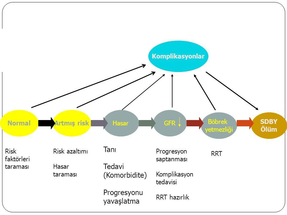Komplikasyonlar NormalGFRArtmış riskHasar Böbrek yetmezliği SDBY Ölüm Risk faktörleri taraması Risk azaltımı Hasar taraması Tanı Tedavi (Komorbidite) Progresyonu yavaşlatma Progresyon saptanması Komplikasyon tedavisi RRT hazırlık RRT