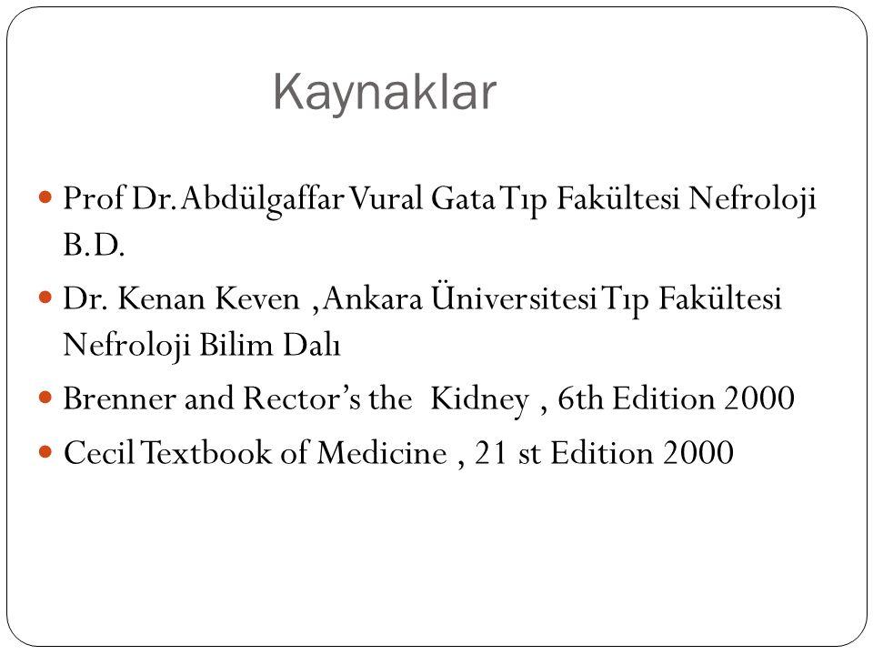 Kaynaklar Prof Dr.Abdülgaffar Vural Gata Tıp Fakültesi Nefroloji B.D.