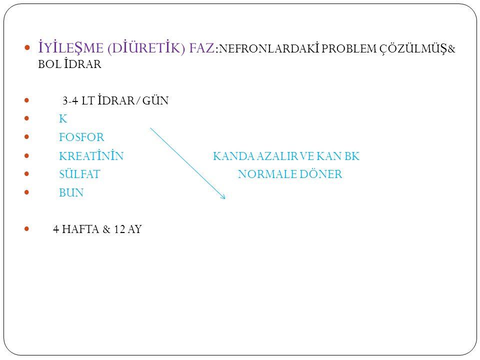 KBY nin Dönemleri HAF İ F RENAL YETMEZL İ K: gfr>50 ml/dk üre ve kreatinin normalin üst sınırlarında renal regulatuar ve excretuar fonk nrm genellikle klinik semptom yok
