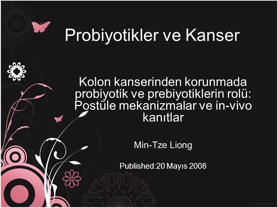 Probiyotikler ve Kanser Kolon kanserinden korunmada probiyotik ve prebiyotiklerin rolü: Postüle mekanizmalar ve in-vivo kanıtlar Min-Tze Liong Publish
