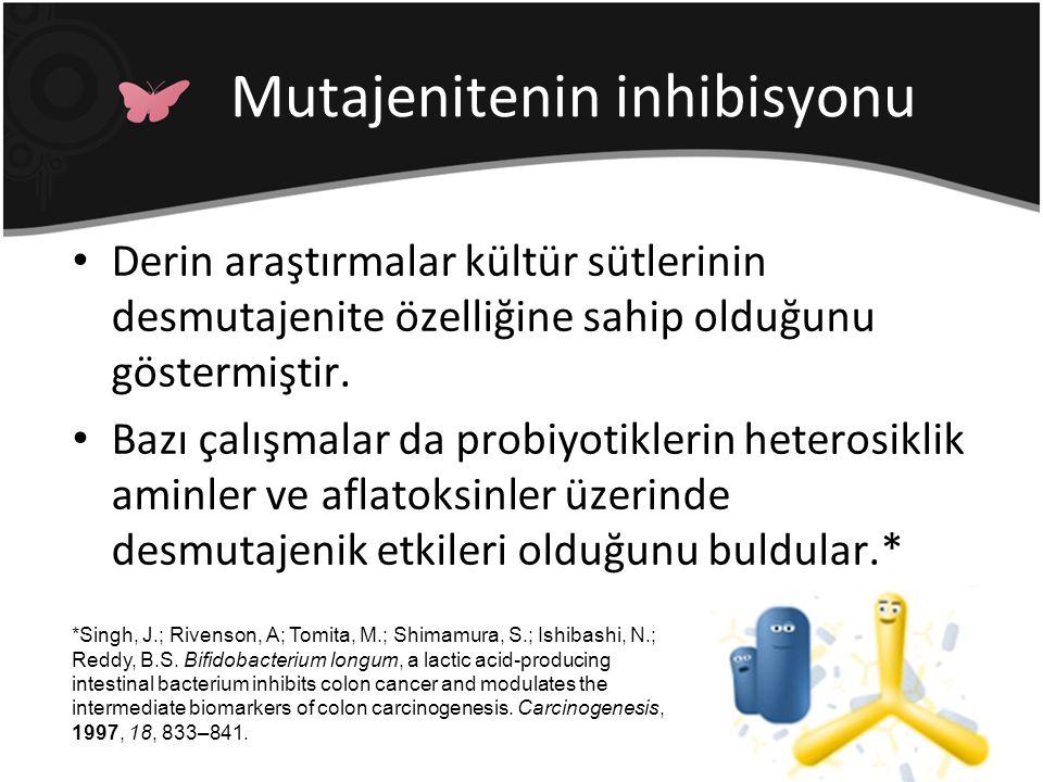 Mutajenitenin inhibisyonu Derin araştırmalar kültür sütlerinin desmutajenite özelliğine sahip olduğunu göstermiştir. Bazı çalışmalar da probiyotikleri