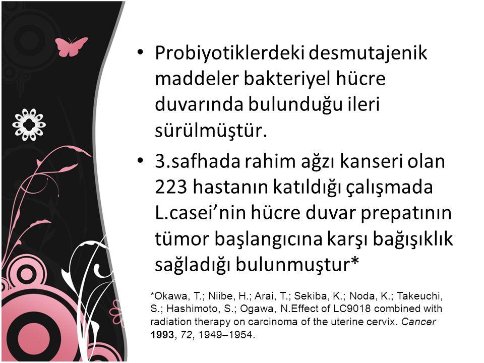 Probiyotiklerdeki desmutajenik maddeler bakteriyel hücre duvarında bulunduğu ileri sürülmüştür. 3.safhada rahim ağzı kanseri olan 223 hastanın katıldı
