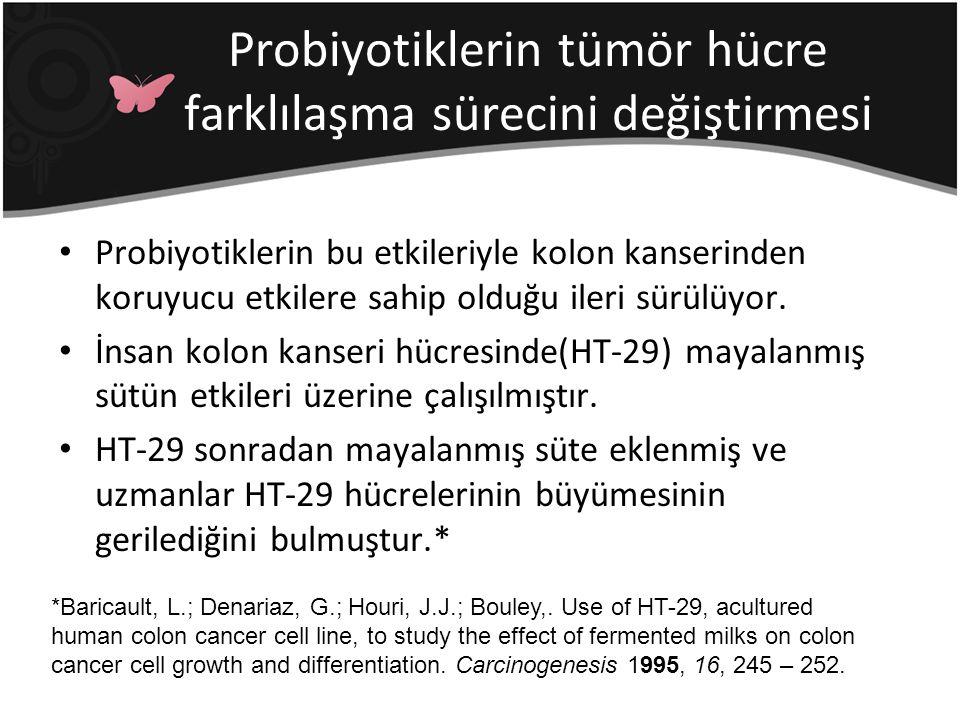 Probiyotiklerin tümör hücre farklılaşma sürecini değiştirmesi Probiyotiklerin bu etkileriyle kolon kanserinden koruyucu etkilere sahip olduğu ileri sü