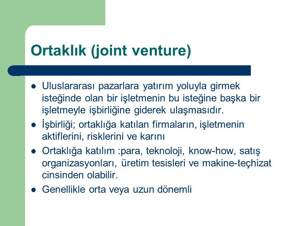 Ortaklık (joint venture) Uluslararası pazarlara yatırım yoluyla girmek isteğinde olan bir işletmenin bu isteğine başka bir işletmeyle işbirliğine giderek ulaşmasıdır.